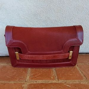 Antonio Melani Maroon Calf Hair Clutch Bag
